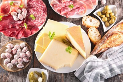 Plakat assortment of cheese, meat