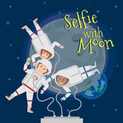 Plakat Astronauci mężczyźni i kobiety w przestrzeni kosmicznej biorący selfie portret z księżyca .selfie z Księżyca koncepcji ilustracji
