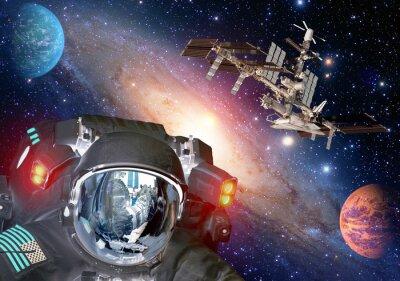 Plakat Astronauta et kosmita pozaziemski sci fi ufo planety przestrzeń statek kosmiczny. Elementy tego zdjęcia dostarczone przez NASA.