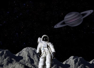Plakat Astronauta na powierzchni Księżyca