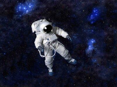 Plakat Astronauta pływających w ciemnej przestrzeni.