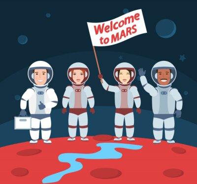 Plakat astronautów na Marsie. Witamy mars.international grupy z flagą