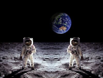 Plakat Astronauts Moon Landing Earth
