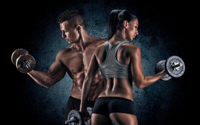 Plakat Athletic mężczyzna i kobieta z hantle.