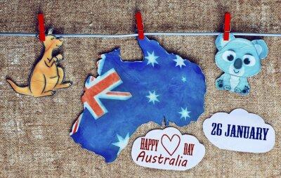Plakat Australia dni Concept - powitanie napisane w całej mapy, białych australijskich kangurów i koali - wiszące kołki (Clothespin), 26 stycznia. stonowanych obraz. efekt światła słonecznego