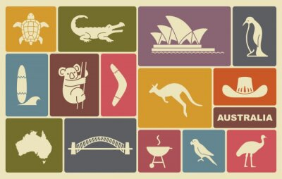 Plakat australijscy ikony