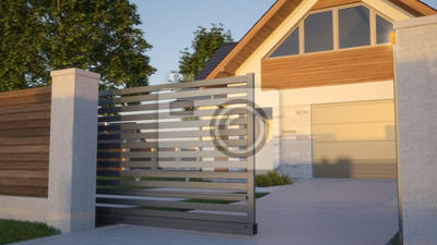 Plakat Automatic Sliding Gate and house, 3d illustration