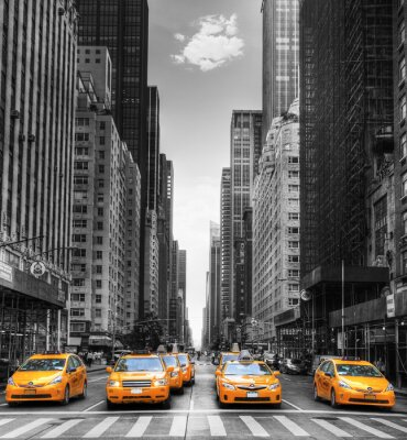 Plakat Avenue avec des taksówki w Nowym Jorku.