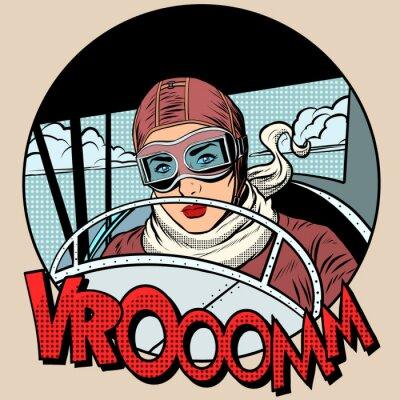 Plakat Aviator Retro kobieta w samolocie