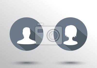 awatary płaskie ikony z długimi cieniami ilustracji wektorowych