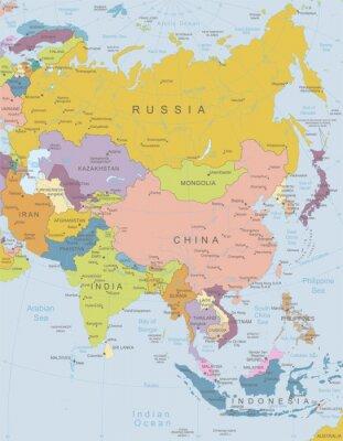 Plakat Azja-bardzo szczegółowe map.Layers używane.