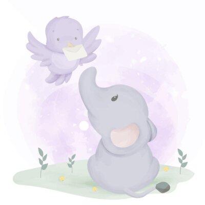 Plakat Baby Elephant Get Mail From Bird