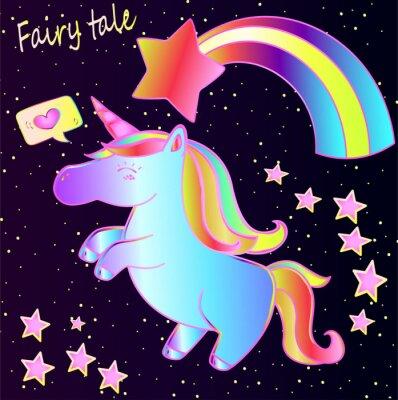 Plakat Bajka - ładny neon jednorożec i tęcza z serca i gwiazdy na ciemnym tle gradientu