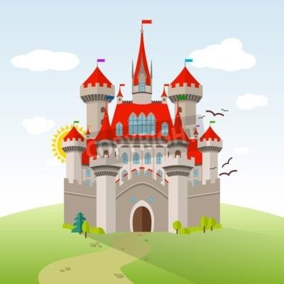 Plakat Bajkowy zamek. Ilustracji Wektorowych Wyobraźni Dziecka. Pejzaż płaski z zielonymi drzewami, trawa, ścieżka, kamienie i chmury