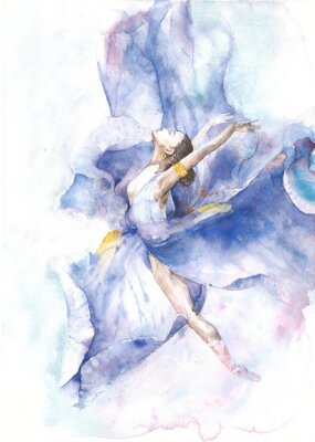 Plakat Ballerina taniec akwarela na białym tle kartkę z życzeniami