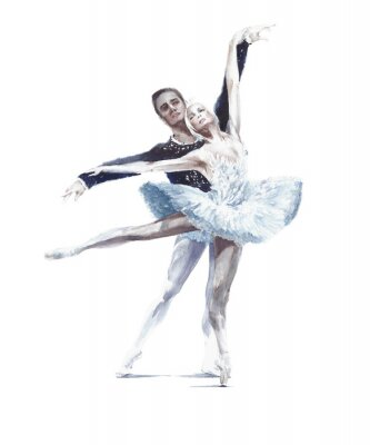 Plakat Ballet dancers swan lake ballet ballerina in white tutu watercolor painting illustration isolated on white background