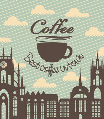 baner z filiżanką kawy na tle starożytnego miasta
