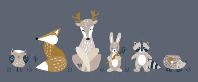 Plakat Banner with cute woodland animals in scandinavian style. Set of nice characters on dark background. Flat vector illustartion.