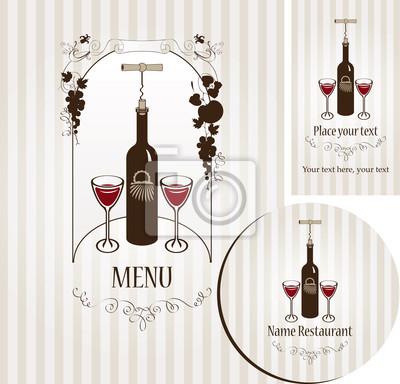 banner z butelką wina, dwa kieliszki i wino