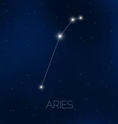 Plakat Baran konstelacja w nocnym niebie