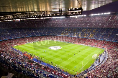 Plakat BARCELONA - SEPTEMBER 13: Crowd of people in Camp Nou stadium before the Champions League match between FC Barcelona and AC Milan, final score 2 - 2, on September 13, 2011, in Barcelona, Spain.