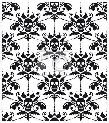 Plakat Barokowy wzór z czaszkami
