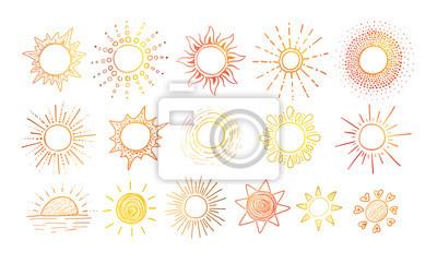 Plakat Barwioni Doodle nakreślenia słońce na białym tle