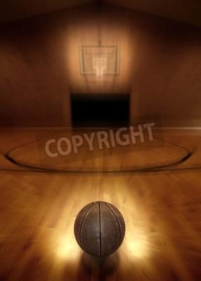 Plakat Basketball on floor of empty basketball court