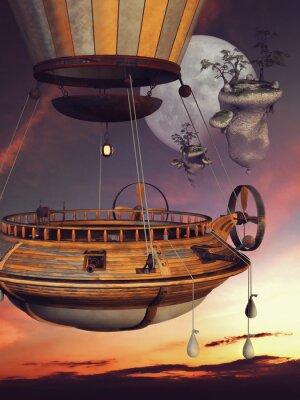 Plakat Baśniowy balon na TLE Księżyca i latających wysp