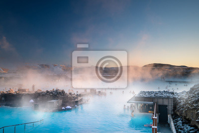 Plakat Beautiful landscape and sunset near Blue lagoon hot spring spa in Iceland