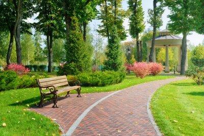 Plakat Beautiful park with bench