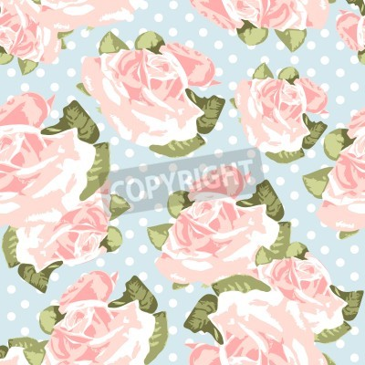 Plakat Beautiful Seamless rose pattern with blue polka dot background, vector illustration