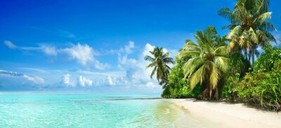 Plakat Beautiful tropical beach with white sand, palm trees,  turquoise ocean against blue sky with clouds on sunny summer day. Perfect landscape background for relaxing vacation, island of Maldives.
