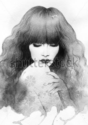 Plakat Beautiful woman. watercolor illustration