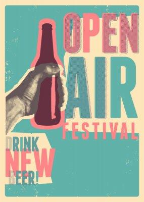 Plakat Beer open air festival typographical vintage grunge pop-art style poster design. Retro vector illustration.