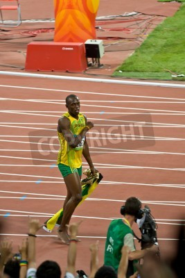 Plakat Beijing, China - Aug 16, 2008: Olympic Champion Sprinter Usain Bolt after victory in 100 meter Olympic race