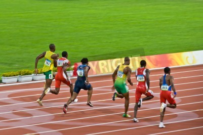 Plakat Beijing, China - Aug 18 2008: Olympic champion Usain Bolt trails the pack before setting a new world record