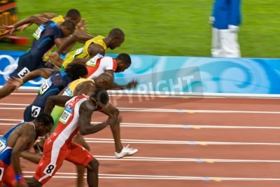Plakat Beijing, China Aug. 18 2008, Olympics, 100 meter sprint, Start of men