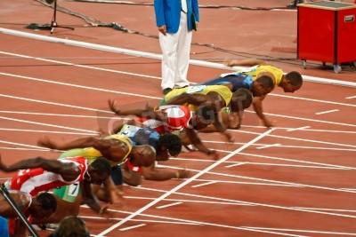 Plakat Beijing, China ,Olympics - Aug 18 2008: 100 meter Sprint starting line, Start of Men