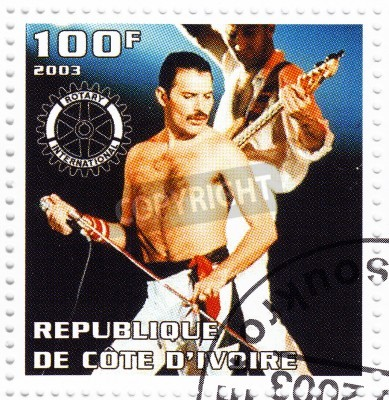 Plakat Benin - OKOŁO 2003 Stempel drukowane w Beninie pokazuje lidera Freddie Mercury Queen - 1980 jest słynny musical grupy pop, około 2003
