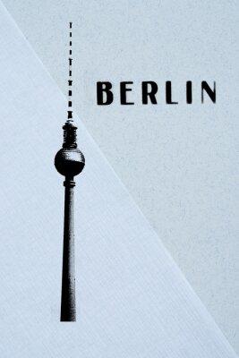 Plakat Berlin Archiwalne pocztówki - wieża telewizyjna i liter streszczenie backg