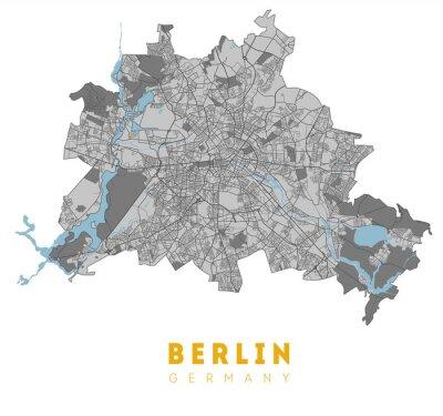 Plakat Berlin map. Detailed poster city map Berlin. Germany