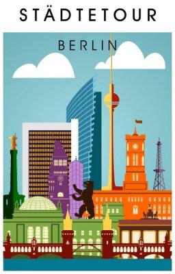 Plakat Berlin plakat bunt mit wichtigen Sehenwürdigkeiten hochkant Sylwetka Panorama