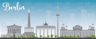 Plakat Berlin skyline z szarego budynku i błękitne niebo.