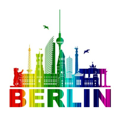 Plakat Berlin sylwetka Zarys Wandtatoo elementy sylwetka TV Tęczowa Wieża Niedźwiedzia Rathhaus Reichstagu Brama Brandenburska Funkturm