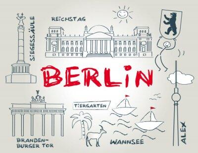 Plakat Berlin, Wahrzeichen, ilustracji