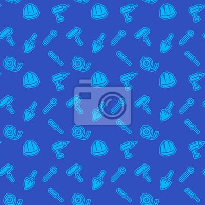 bez szwu deseń z narzędzi budowlanych ikony, niebieskie tło