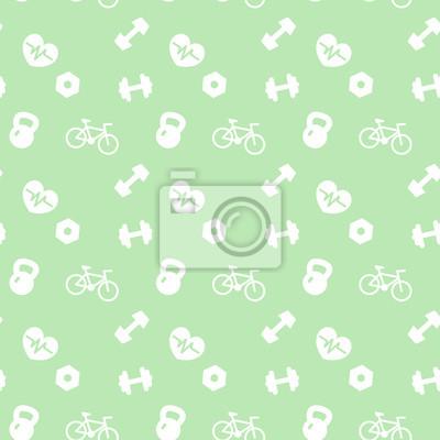 bez szwu ikony wzorca Fitness na zielono
