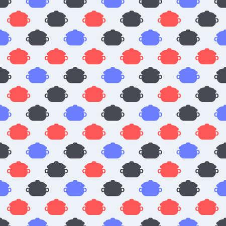 Bez szwu kolorowy wzór. Wektorowy tło z mieszkanie stylu garnka ilustracją.