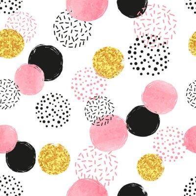 Plakat Bez szwu kropkowany wzór z różowymi, czarnymi i złotymi okręgami. Wektor abstrakcyjna tła z okrągłych kształtów.